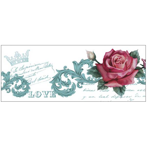 Papel transfer cenefa rosa roja decoraciones stilo - Cenefas de papel ...