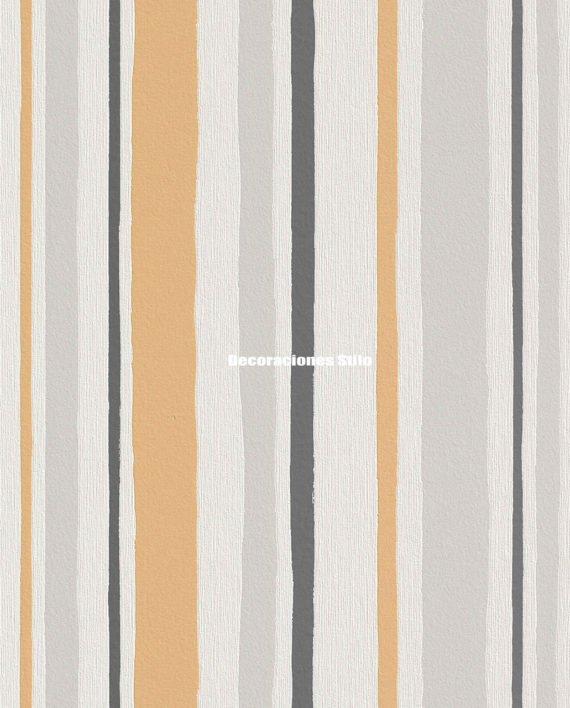 Papel pintado rayas naranja plateado y gris decoraciones - Papel pintado plateado ...