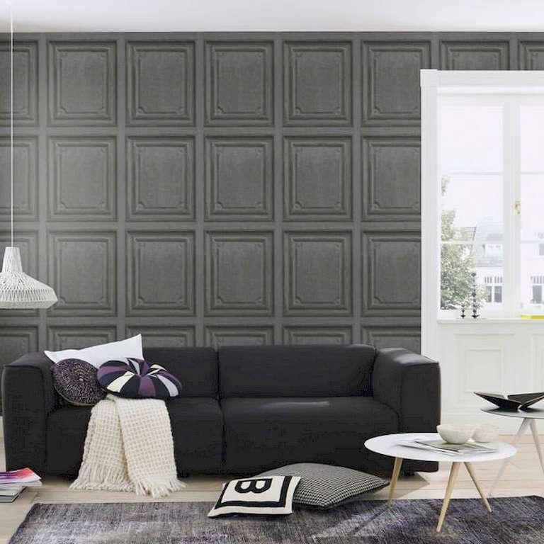 Papel pintado madera gris oscuro cuarter n decoraciones - Papel pintado para salones ...