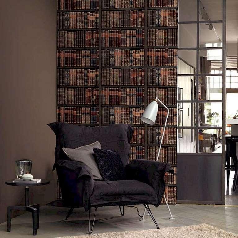 papel pintado librer a marr n decoraciones stilo. Black Bedroom Furniture Sets. Home Design Ideas
