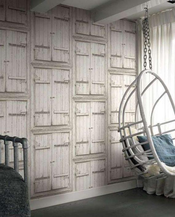 Papel pintado puertas madera blanca decoraciones stilo for Papel pintado madera blanca
