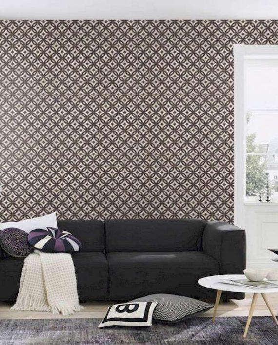 Papel pintado azulejo vintage marr n decoraciones stilo - Papel para salones ...