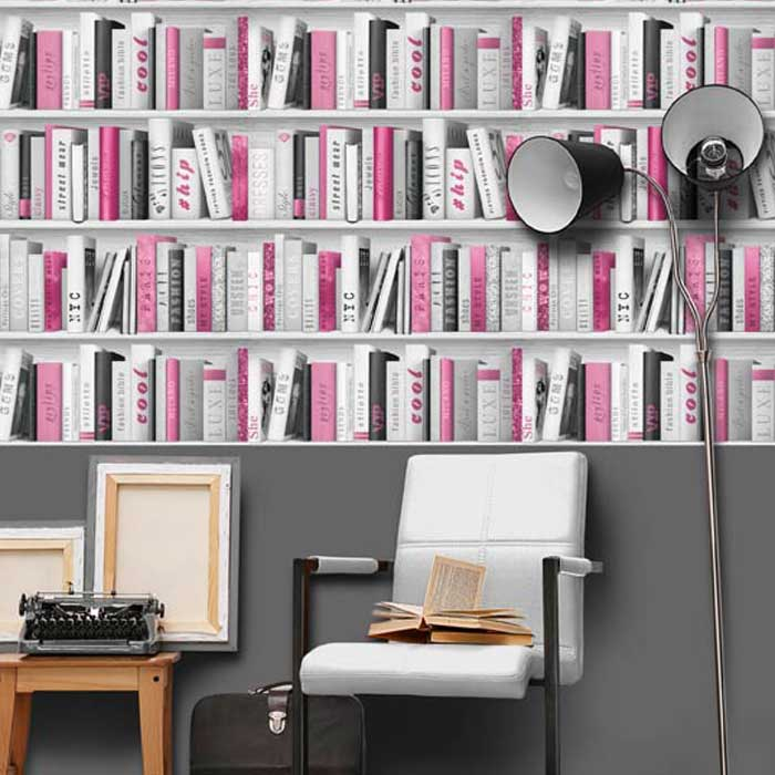 139501 Papel Pintado Freestyle Libros Gris Decoraciones