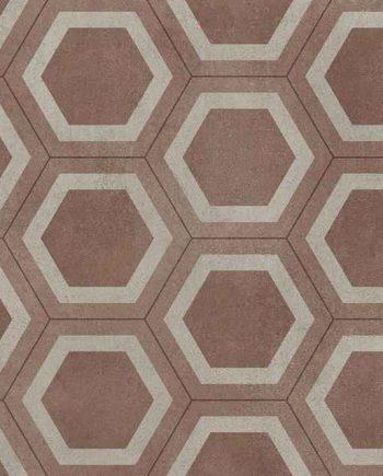 27024049 - Sintasol - Suelo Vinílico Baldosa Geométrica Rojo - Ancho 2 m.
