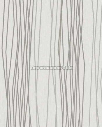 DU504C110 - Papel Pintado Vinílico Blanco, Gris y Plateado de Rayado