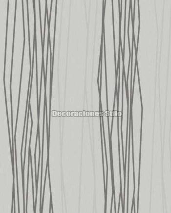 DU504C130 - Papel Pintado Vinílico Blanco y Gris de Rayado