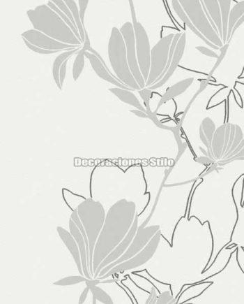 DU505C010 - Papel Pintado Vinílico Blanco, Gris y Plateado de Flores