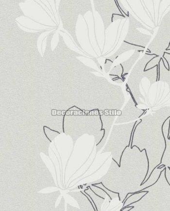 DU505C020 - Papel Pintado Vinílico Blanco, Roto, Gris y Purpurina de Flores