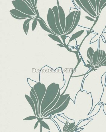 DU505C030 - Papel Pintado Vinílico Blanco, Verde y Purpurina de Flores