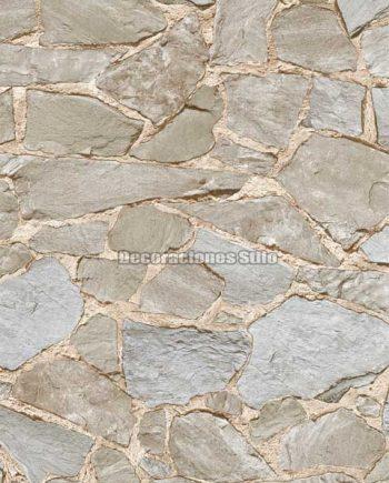 DU672C210 - Papel Pintado Vinílico Marron y Gris de Piedra