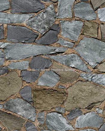 DU672C220 - Papel Pintado Vinílico Gris y Beige de Piedra