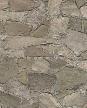 DU672C230 - Papel Pintado Vinílico Beige, Gris y Marron de Piedra