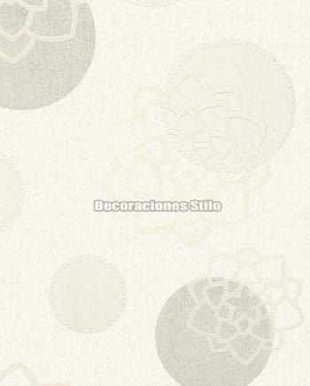 DU672C710 - Papel Pintado Vinílico Blanco, Gris y Beige de Círculos y Flores