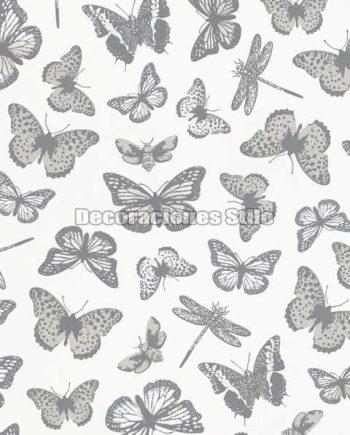 ED711C0 - Papel Pintado Vinílico Blanco y Gris de Mariposas