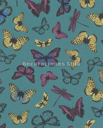 ED712C0 - Papel Pintado Vinílico Verde, Rosa, Amarillo y Negro de Mariposas