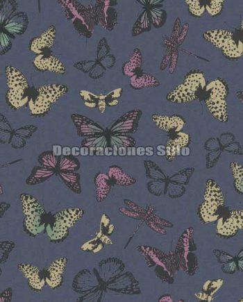 ED713C0 - Papel Pintado Vinílico Azul, Rosa, Amarillo y Negro de Mariposas
