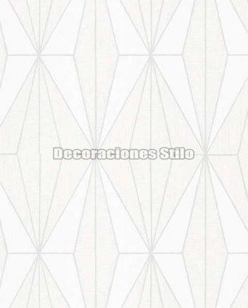 ED813C0 - Papel Pintado Vinílico Blanco y Hueso de Geométrico