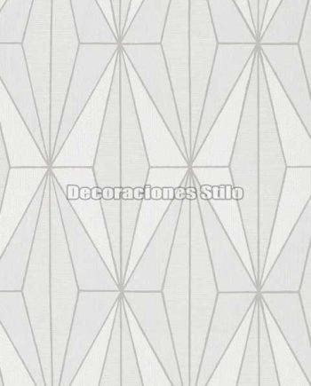 ED814C0 - Papel Pintado Vinílico Blanco, Gris y Plateado de Geométrico