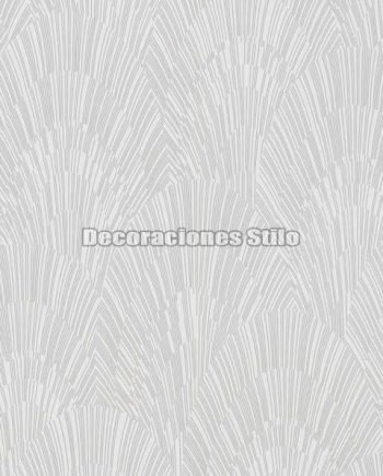 ED901C0 - Papel Pintado Vinílico Blanco, Hueso y Brillo de Abanicos