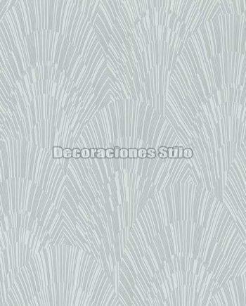 ED903C0 - Papel Pintado Vinílico Gris y Plateado de Abanicos