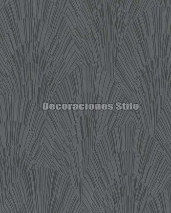 ED904C0 - Papel Pintado Vinílico Negro, Gris y Plateado de Abanicos