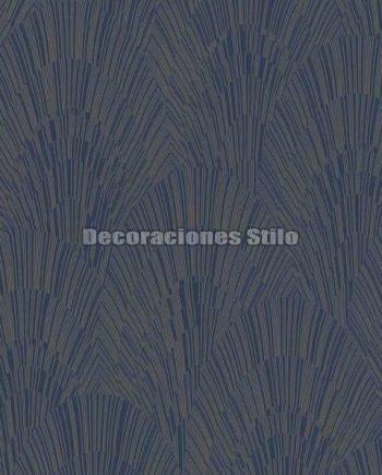 ED905C0 - Papel Pintado Vinílico Azul, Negro y Dorado de Abanicos