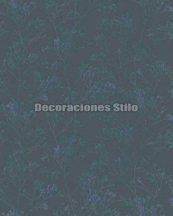 EX674C040 - Papel Pintado Vinílico Azul y Verde de Ramas
