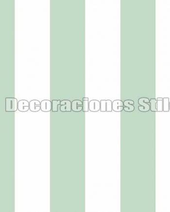 FAM901C280 - Papel Pintado Verde y Blanco de Rayas