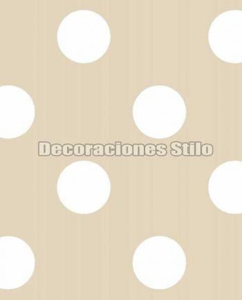 FAM901C610 - Papel Pintado Beige y Blanco de Topos