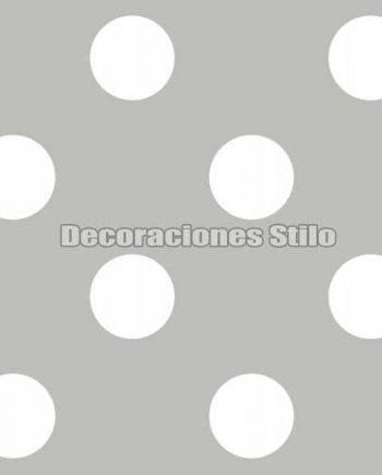 FAM901C620 - Papel Pintado Gris y Blanco de Topos