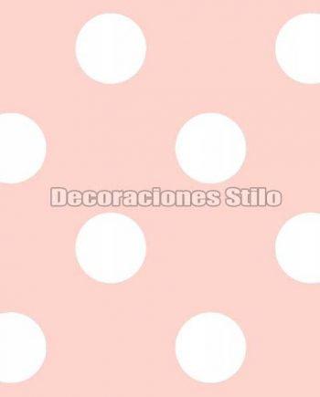FAM901C630 - Papel Pintado Rosa y Blanco de Topos