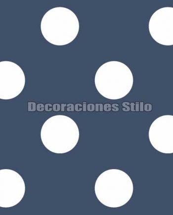 FAM901C650 - Papel Pintado Azul y Blanco de Topos