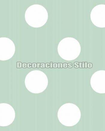 FAM901C680 - Papel Pintado Verde y Blanco de Topos